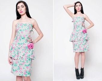 Vintage Floral Strapless Dress