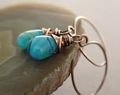 Dangle copper earrings with Tropical ocean blue glass teardrops - Discontinue sale  while supplies last