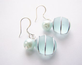 Seaglass Bridesmaids sets - Light Aqua Blue - Glass Pearl - Other Colors Available - Earrings available - Weddings - affordable - seaside