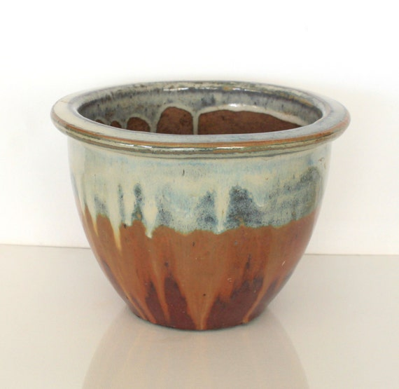 Artisan Glazed Vintage Pottery Planter In Brown Rust Teal And
