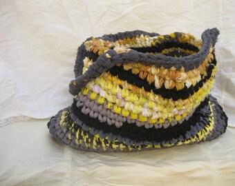 Crochet Rag Bag in Yellow and Grey, Eco Friendly Bag/ Basket