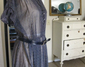Sheer Navy Blue Dress With Belt