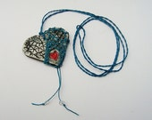 Pottery and Fiber Knotted Necklace, Fishnet Valentine,  Heart of Heart, Aqua Red Black White