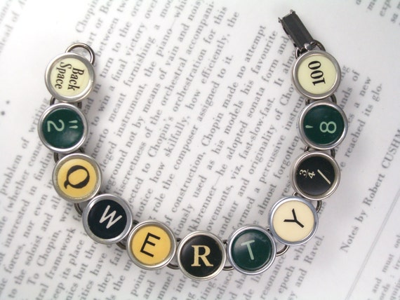 Typewriter Key Bracelet RARE Keys With QWERTY - Antique Typewriter Key Jewelry By Haute Keys