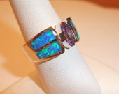 Estate Amethyst Australian Opal 925 Solid Sterling Silver Ring Sz 8 FREE US Shipping
