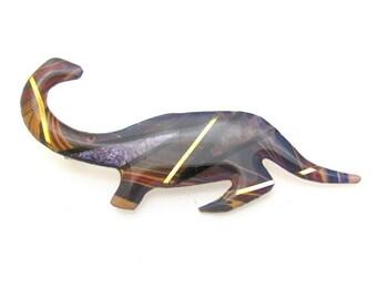 Vintage Dinosaur Pin Brooch Metallic Arts Graphics John Crutchfield 1990 Purple
