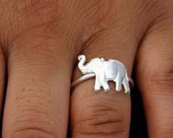 Birthday Gift Sterling Silver Ring Elephant Jewelry Good Luck Trunk Up