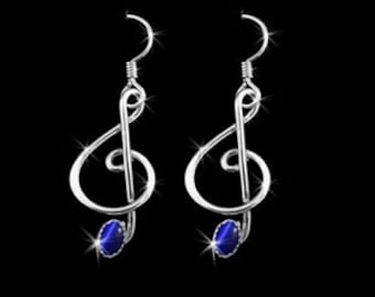 Ms Diva Blue Sterling Silver Music Note Earrings Blue Stone