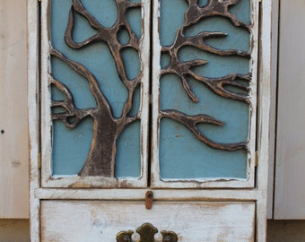 Wood - Wooden Furniture - Cabinet - Shelf - Tree - Art - Artistic - Shabby, cottage - chic - 24 x 17 x 5.5