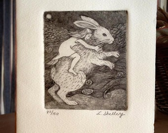 Last Night I Dreamt I Rode a Giant Bunny - Etching