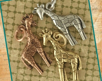 3 Too Cute Giraffes Charms - You PICK Colors - Made in the USA - 23mm X 18mm - With Matching Handmade Jump Rings - 100% Guarantee