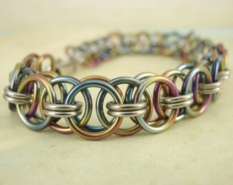 Peacock Rainbow Niobium and Stainless Steel Chainmaille Helm Bracelet Kit