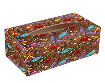 Candy TISSUE BOX with Chocolate and Lollipops