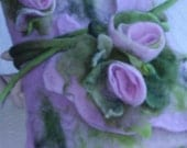 Reserved for Lynn - Romantic Felted Journal Notebook Cover with Light pink Rose Flowers Bouquet with Olive green Leaves