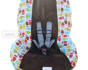 Toddler Car Seat Cover Bermuda Owls with Brown
