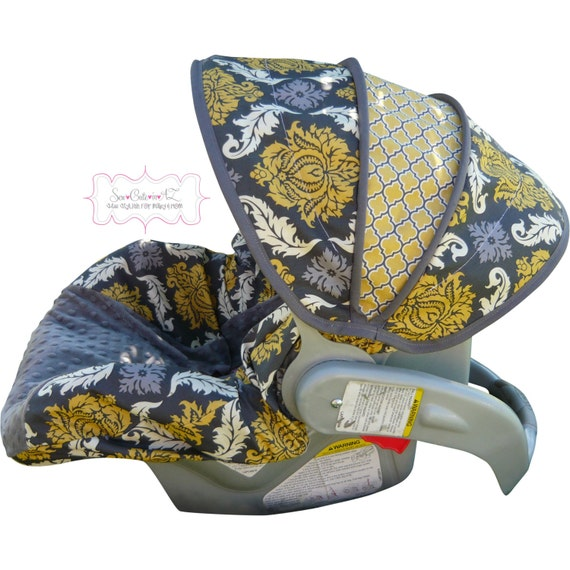 Infant Car Seat Cover Granite Damask with Charcoal