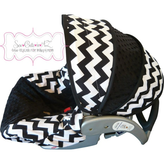 Infant Car Seat Cover Black and White Chevron