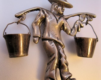 1930s Mexican Silver Brooch Peasant Carrying Water Buckets Dangle FREE SHIPPING