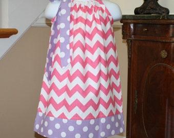 pink spring chevron Pillowcase dress riley blake pink purple polka dot toddler dress 3, 6, 9, 12, 18 mo 2t, 3t, 4T
