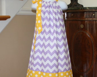 purple chevron Pillowcase dress riley blake lavender white yellow polka dot toddler girls dress 3, 6, 9, 12, 18 mo 2t, 3t, 4T
