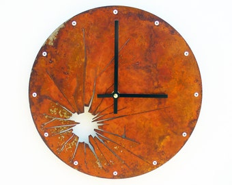 Shattered Metal, Medium, Rustic Wall Clock, Unique Wall Clock, Modern Wall Clock, Steampunk Home Decor, Industrial Wall Art, Laser Cut Clock