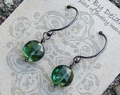 Emerald  Drops and Oxidized Sterling Silver. May Birthstone Gift For Her.