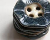deep blue hexagon ceramic buttons
