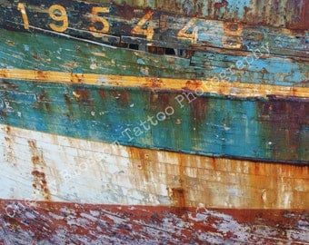 numbers, rusted boat hull, tourquoise orange red, thick lines, 'Stratification 2' - fine art digital photographic print