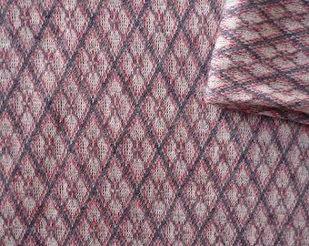 Vintage Fabric 70's Polyester, Red, White, Grey, Diamond, Material, Textiles
