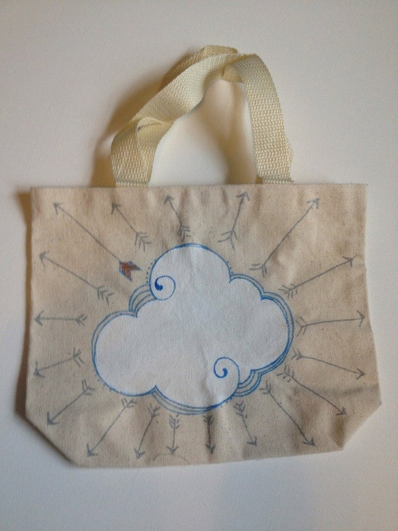 clouds and doodles- customize the words-hand drawn canvas bag-one of a kind original art-ready to ship
