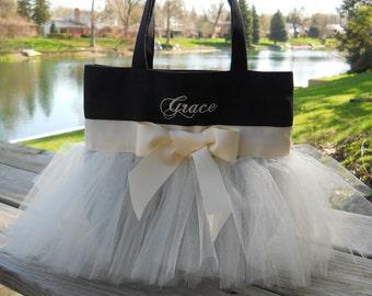Embroidered dance bag, Black Tote Bag, Tutu ballet bag, tutu dance bag, Naptime 21, Personalized tote bag, MINI Tutu Tote Bag MTB226 -  EST