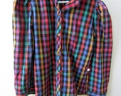 Vintage Girl Rainbow Plaid Blouse