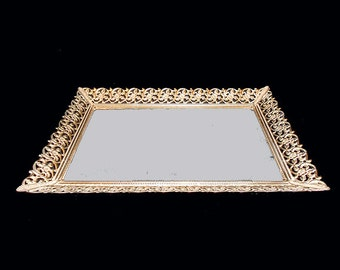 Vintage Gold Tone  Mirrored Vanity Tray With Filigree Edge