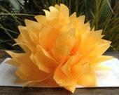 10 Harvest Gold Paper Dahlia Napkin Rings. Perfect for weddings, receptions, baby showers, decor, birthdays. Tissue paper pom poms.