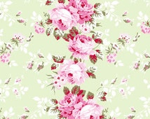 Rachel Ashwell Shabby Chic Fabric yard Rose Trellis on SAGE Poplin Cabbage Roses Raspberry