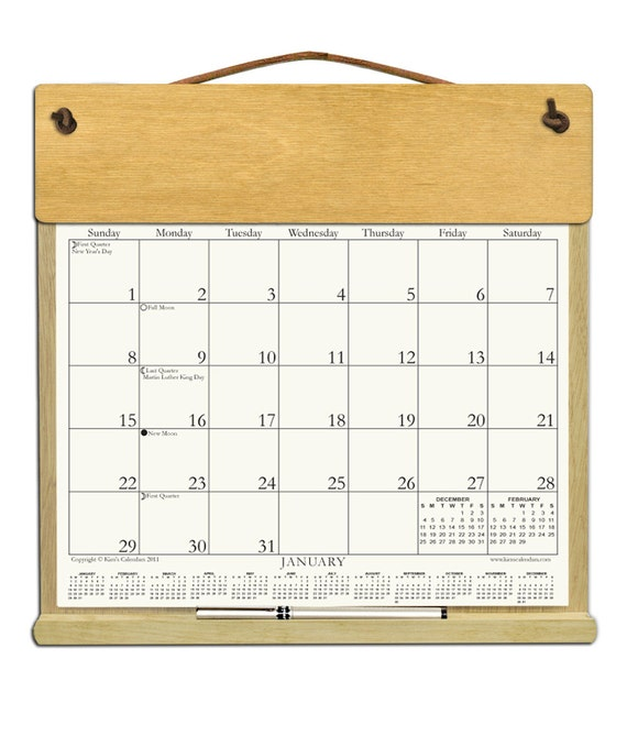 Calendar Wooden Frame : Calendar undecorated wooden holder with