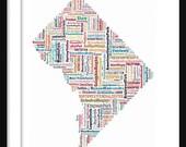 Washington DC Color Typography Neighborhoods Map Poster Print Text Map