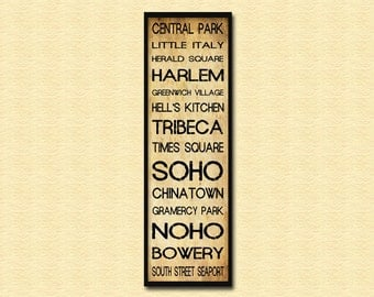 "New York City Bus Roll - Grunge Subway Sign Roll Bus Scroll 12"" x 36"" Poster Print"