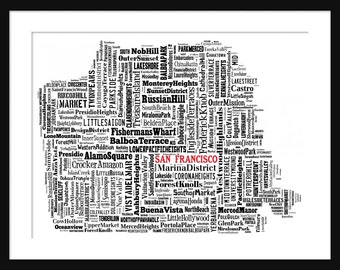 San Francisco Map Typography Map Poster Print
