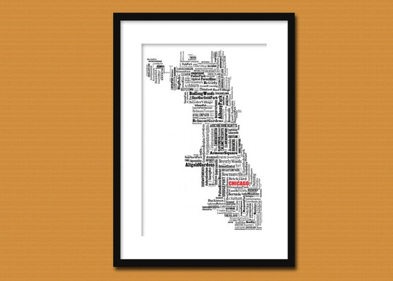 Chicago Map Typographic Map Poster Print