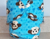 Fitted Large Cloth Diaper- 20 to 30 pounds- Blue Monkeys