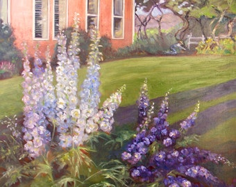Large original delphinium oil painting, impressionism art, flower landscape oil painting, Janice Trane Jones, wall decor, home decor
