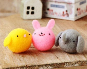 DIY handmade Japanese Felt Wool Simple Animal Friends Package - Seal Brother, Dog Cat Panda and Chicken Bunny Elephant to choose fro