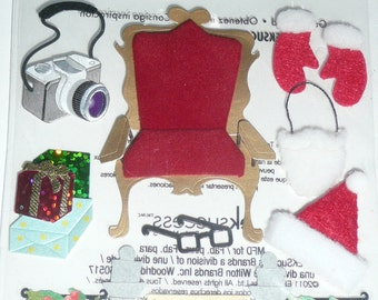 PICTURE WITH SANTA Jolee's boutique Scrapbooking Supplies stickers - Christmas, Hat, Beard, Kids
