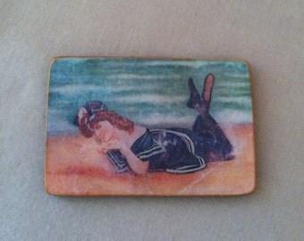 Bathing Beauty Wooden Magnet