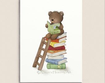 Brown Teddy Bear Reading Books Nursery Wall Art Print, Childrens Art, Boys or Girls Room Decor 5 x 7 (38)