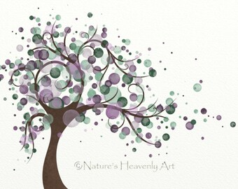 Purple Watercolor Circle Tree Art Print 8 x 10, Green Polka Dots, Wind Blowing Leaves Tree Wall Art Home Decor