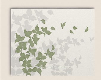 Green Leaf Living Room Wall Art Print 8 x 10, Nature Inspired Home Decor, Wind Blowing Leaves, Tree Branches  (173)
