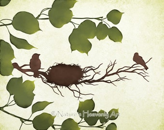 Natural Wall Décor Bird Print 8 x 10, Brown Earthy Colors, Green Leaves Tree Art, Bird Nest (199)