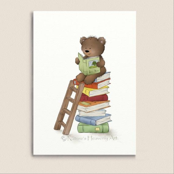 Brown Teddy Bear Reading Books Nursery Wall Art Print